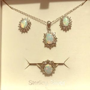 Jewelry - Sterling silver simulated opal jewelry set